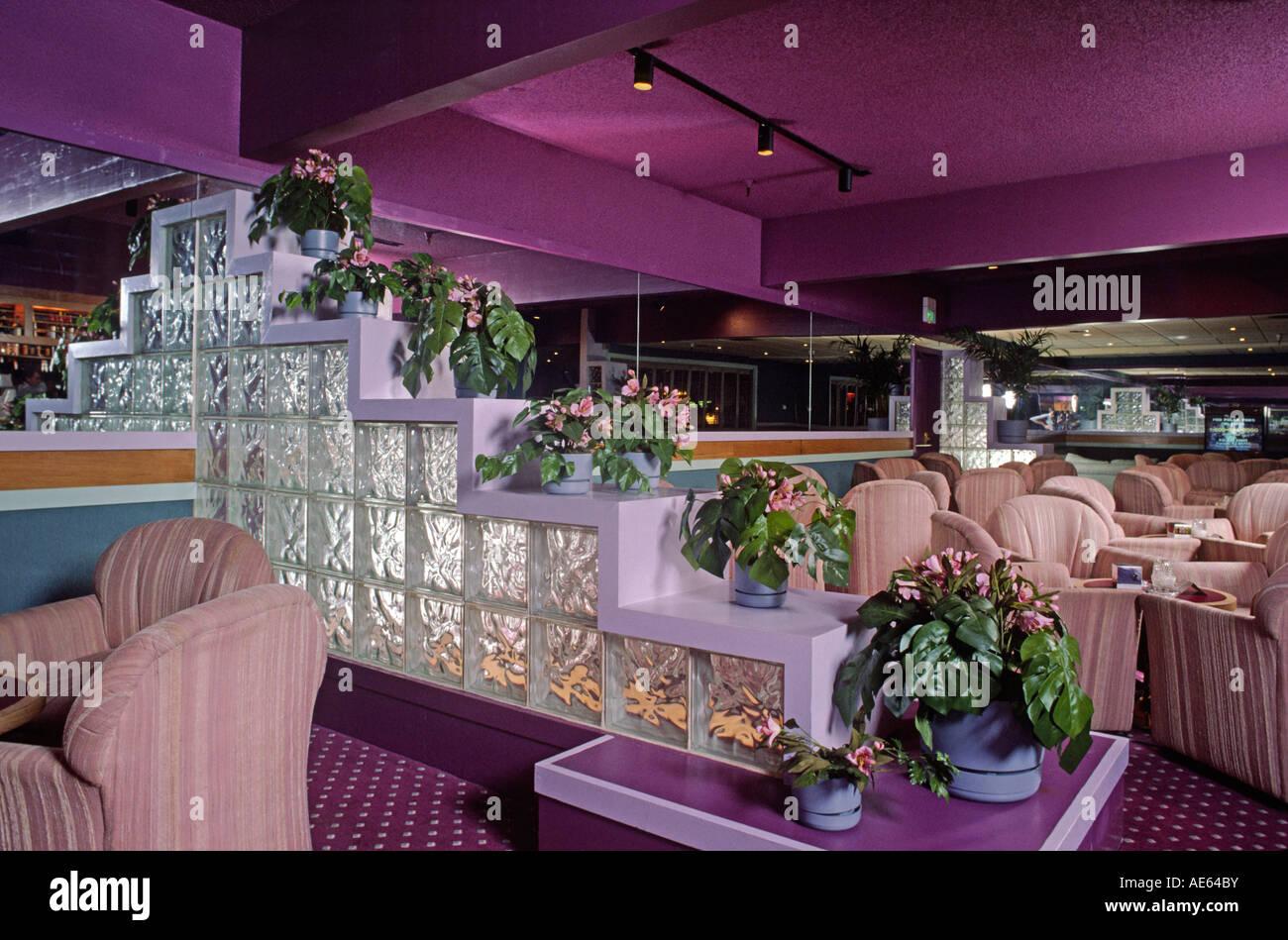 hotel bar lounge with purple green decor concord california stock