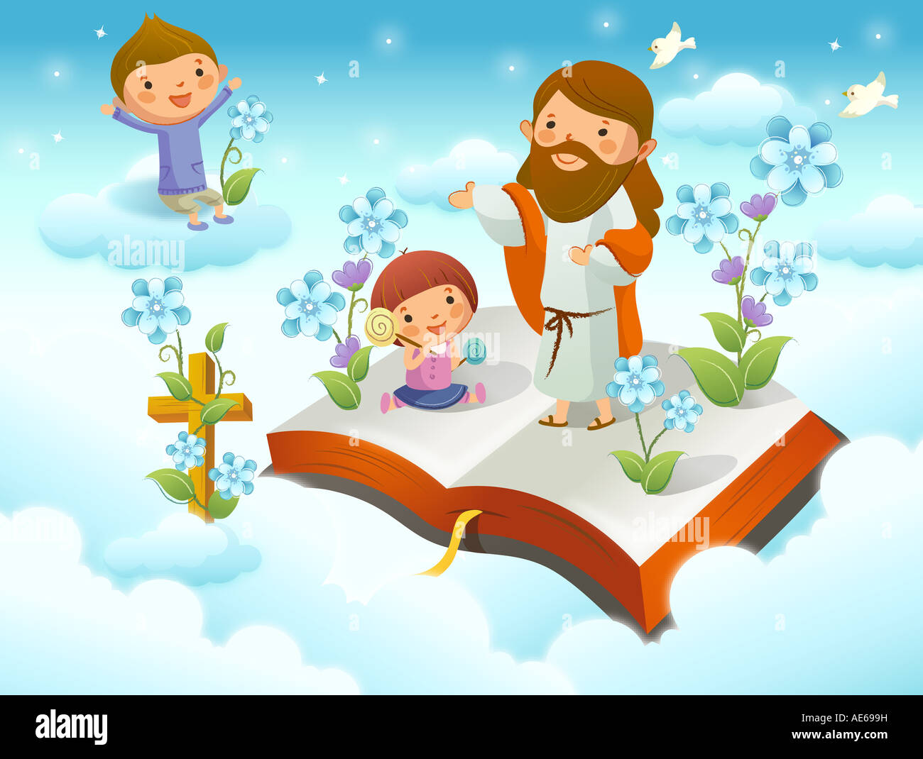 jesus christ with two children on the cloud stock photo royalty