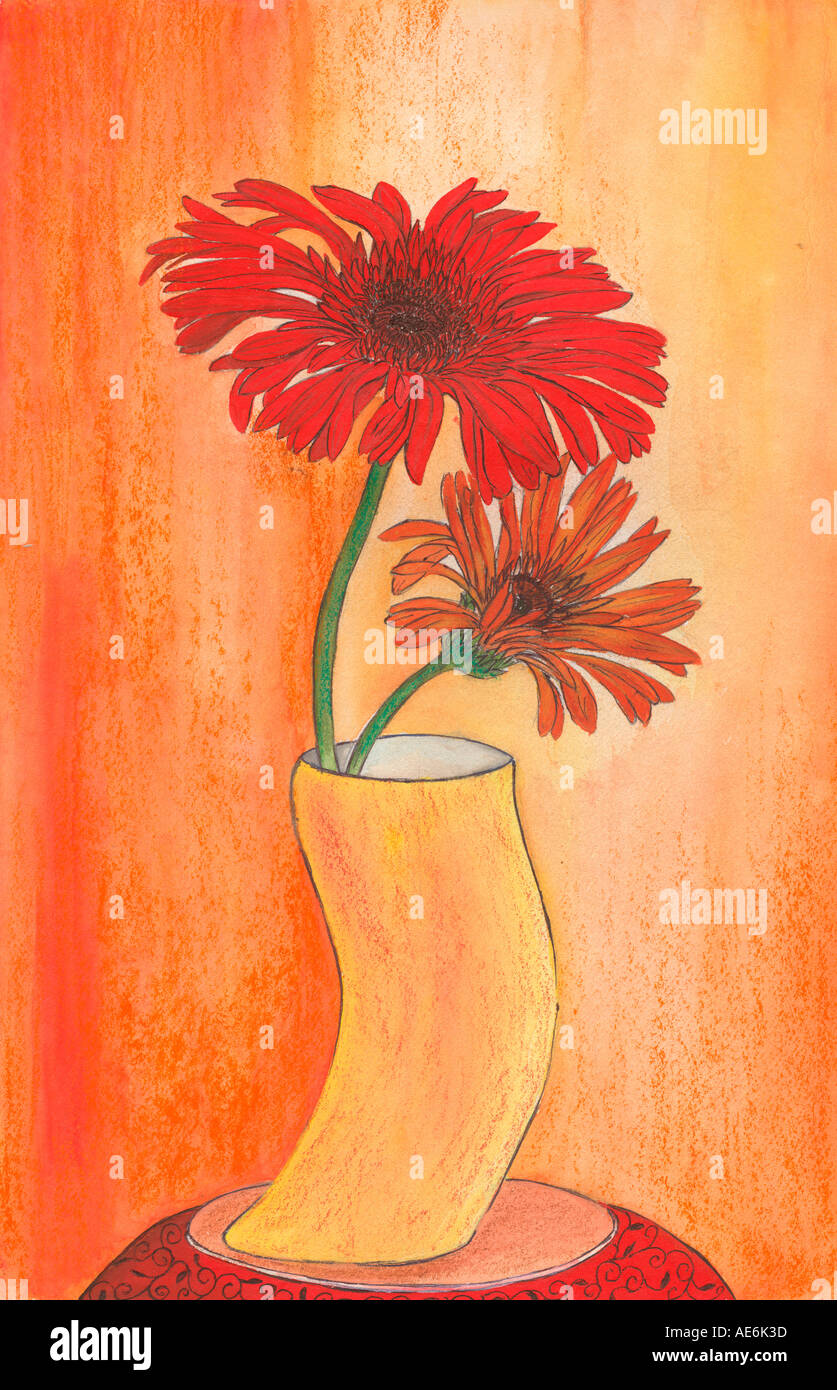 ARS71029 Painting Illustration Drawing Color Of 2 Two Flowers In A Vase Pot India