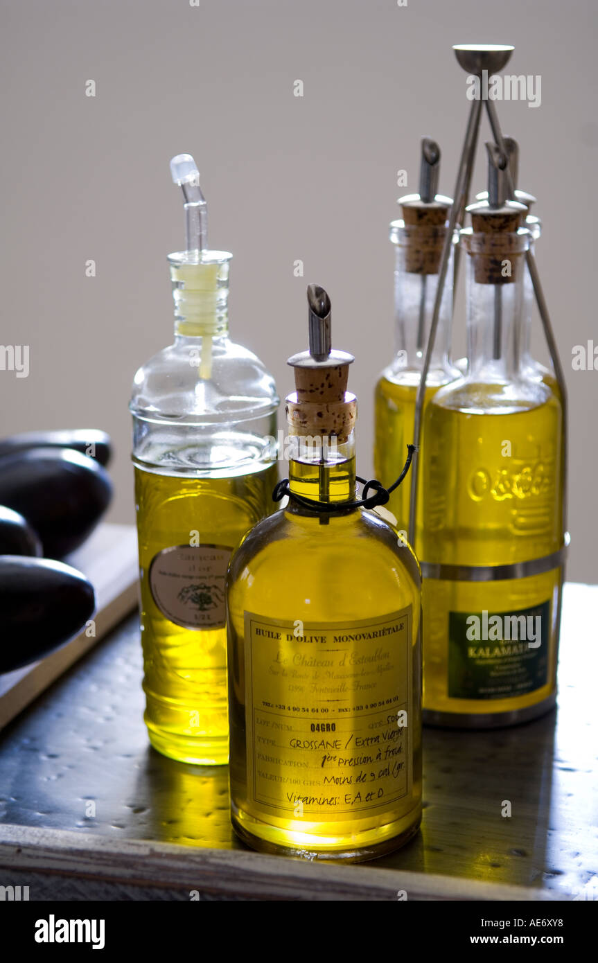 Stock Photo   Olive Oil Bottles In A Kitchen