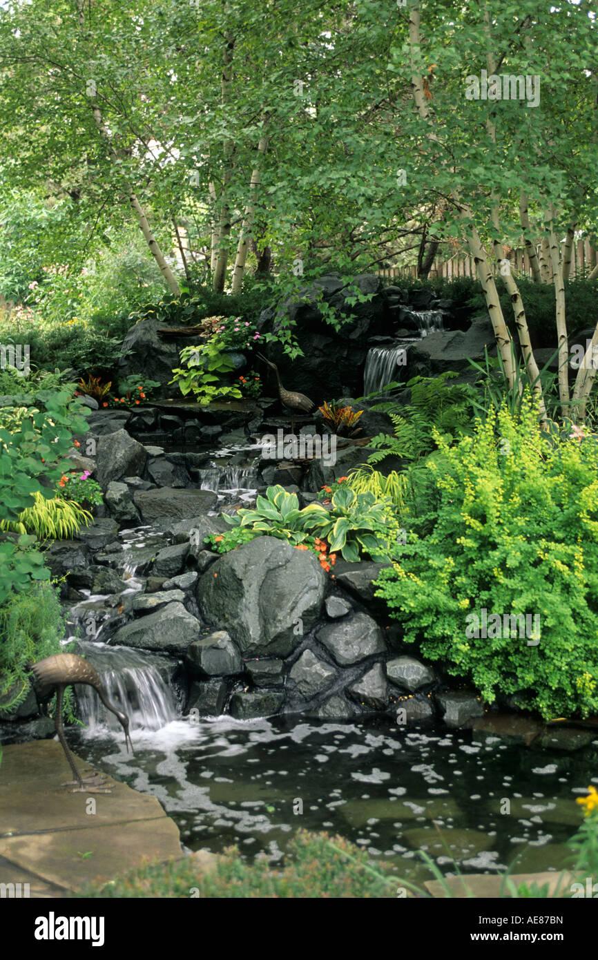 minnesota backyard shade garden includes waterfall pond metal