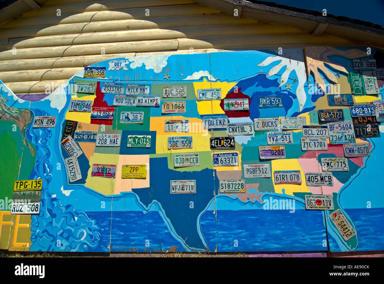 A Map Of The USA With State License Plates At Two Sisters - License plate usa map