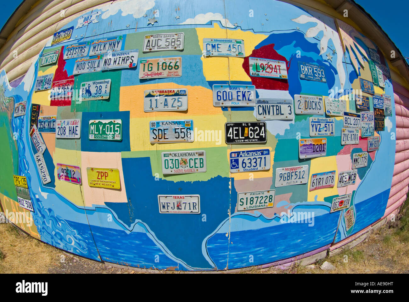 A map of the USA with state license plates at Two Sisters