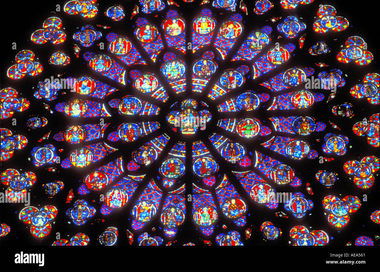 The Rose Window A Stained Glass In Notre Dame Cathedral Paris France