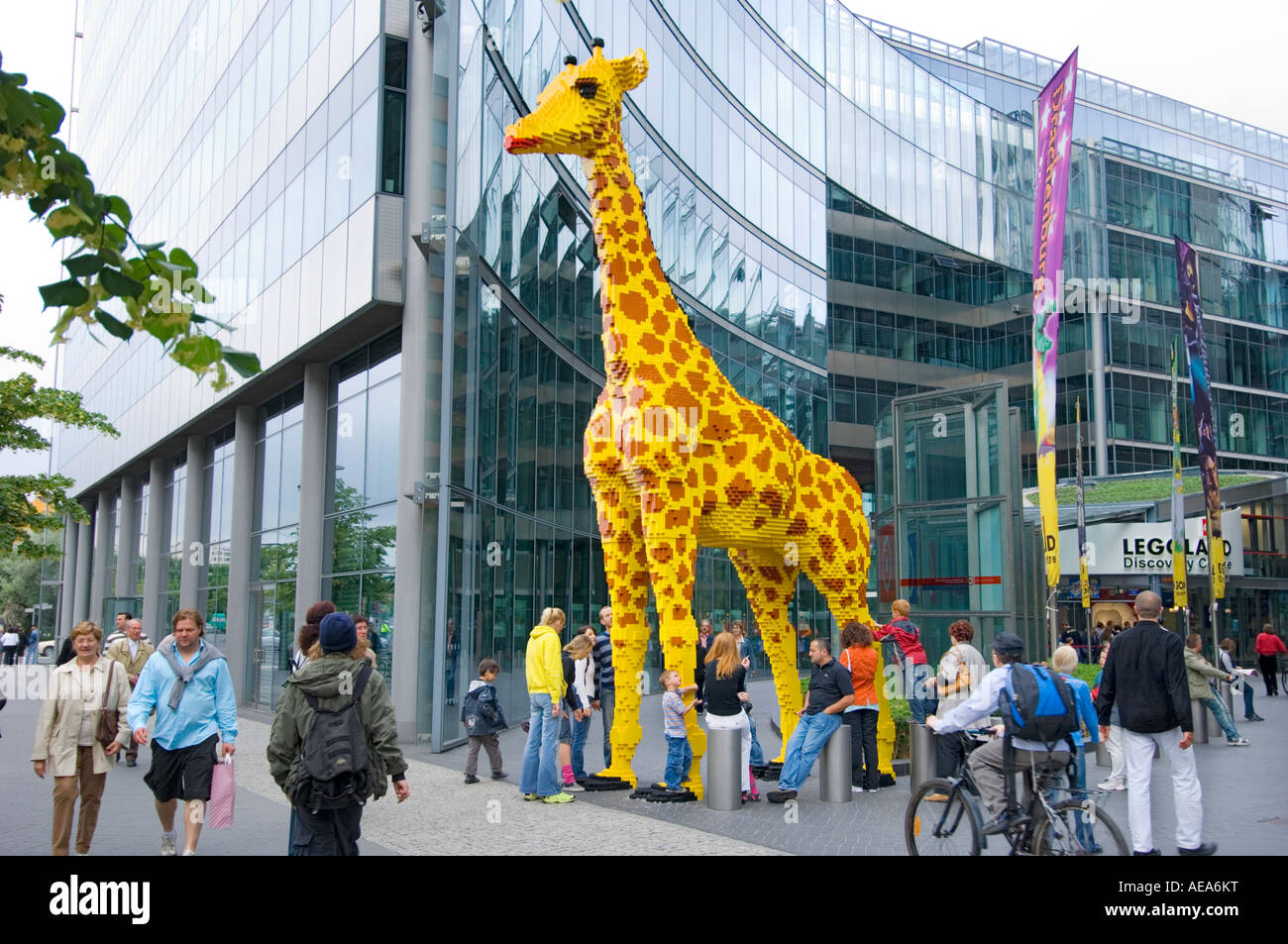 large figure toy giraffe made of lego brick ahead of sony center stock photo 13618763 alamy. Black Bedroom Furniture Sets. Home Design Ideas