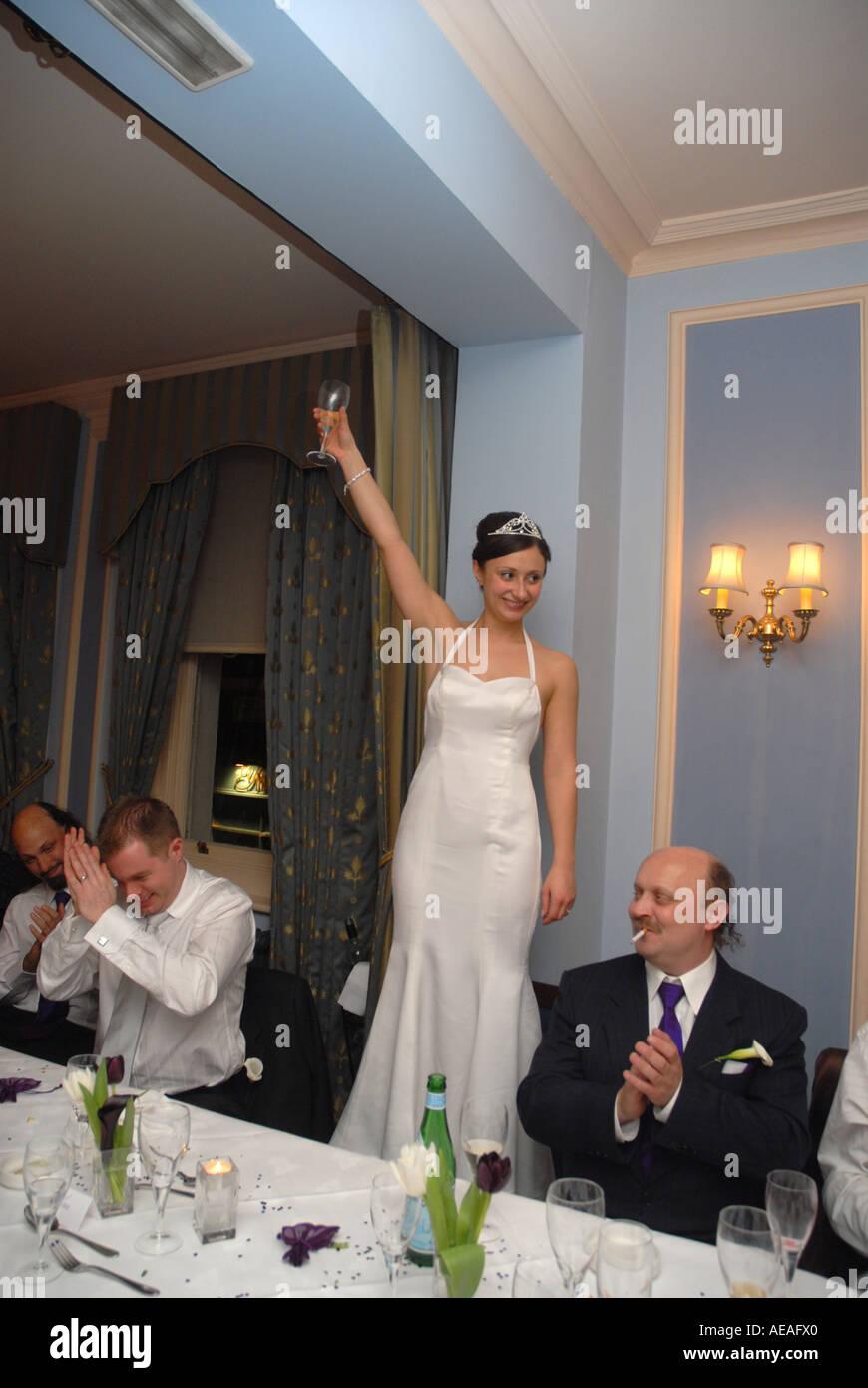 Bride Makes A Speech At Her Wedding Reception Kettners Restaurant Soho London