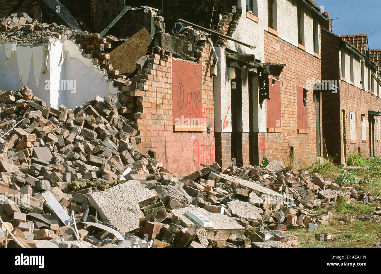 An old council house being demolished on the raffles for The carlisle house