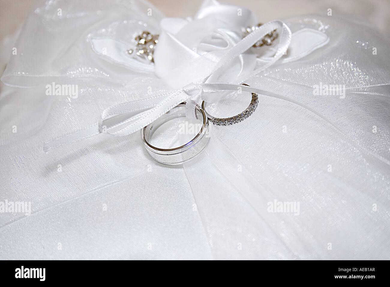 Wedding Rings On Ribbon Pillow