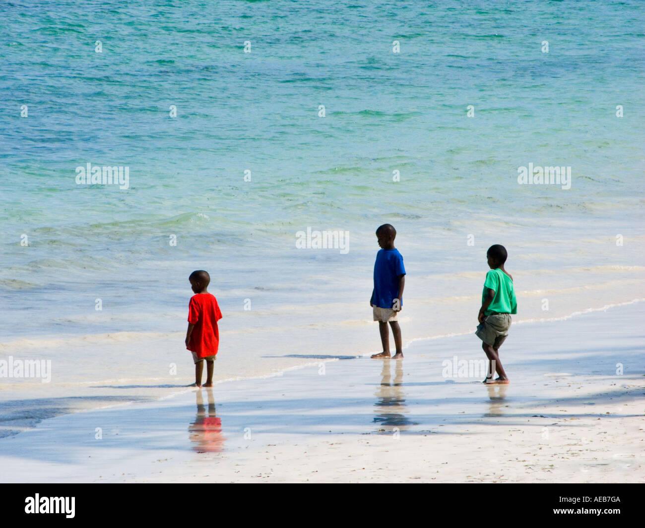 3 Three Black Kids Child Children On BAMBURU BEACH MOMBASA Kenya East Africa Kenia Red Green Blue T Shirt