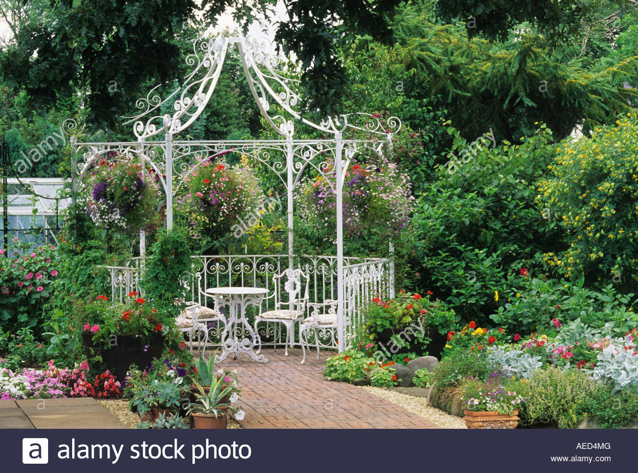 Private Garden West Midlands White Painted Gazebo With Table And Chairs  Hanging Baskets Snap Dragons Antirrhinum