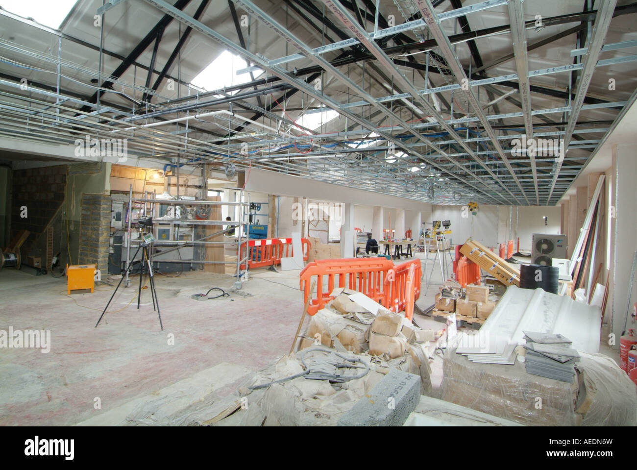 Interior of an industrial site under construction with materials ...