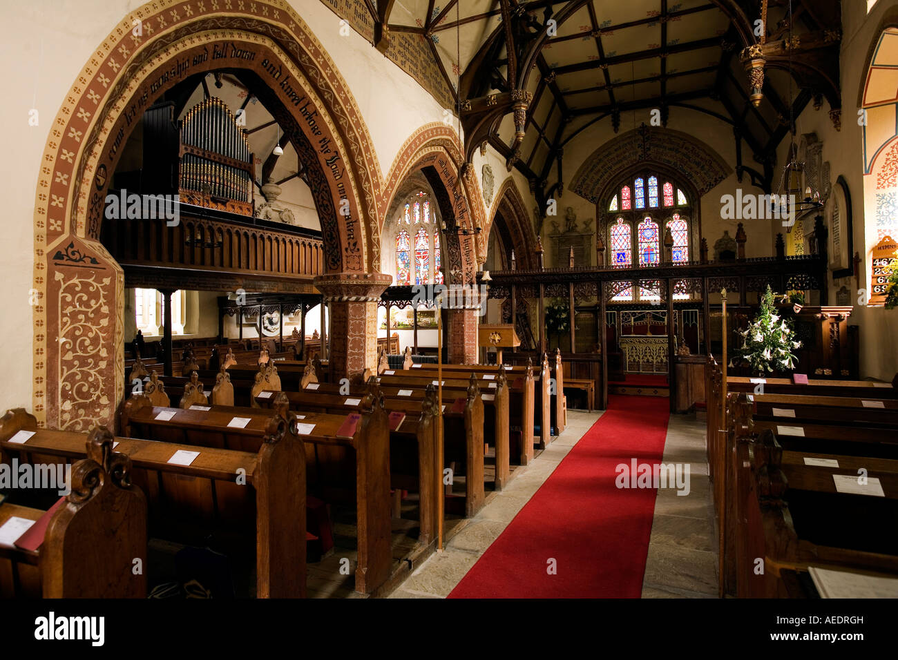 UK Shropshire Llanyblodwel St Michaels Church Gothic revival interior