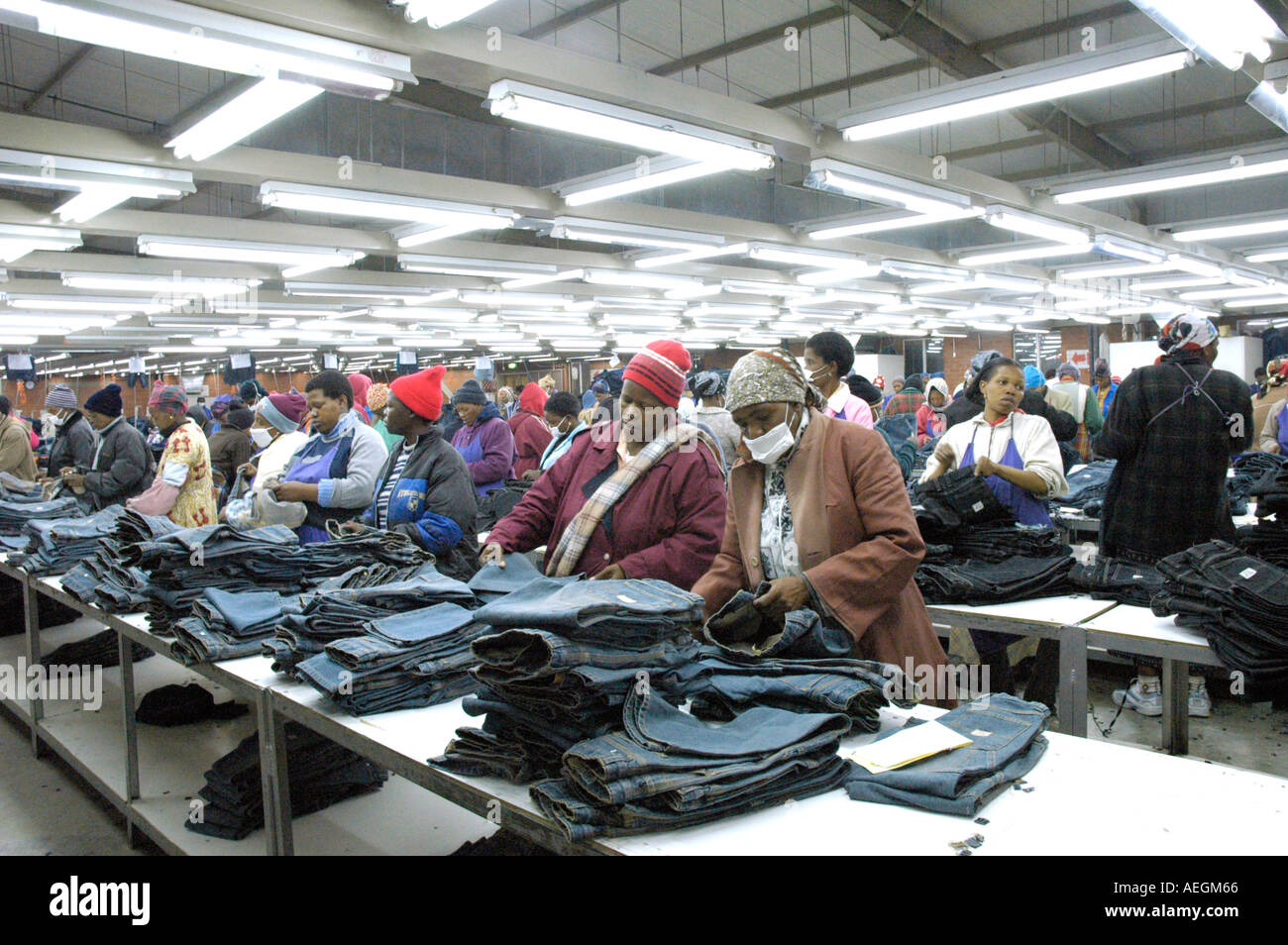 Chinese clothing factory for making blue jeans in Lesotho Africa Stock Photo Royalty Free Image ...