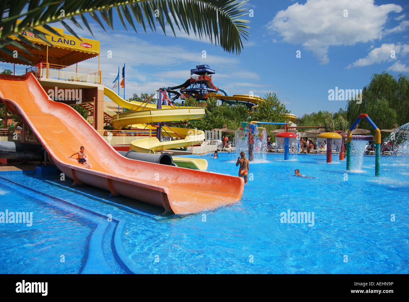 Shallow pool, Aqualand Water Park, Agios Ioannis, Corfu ...