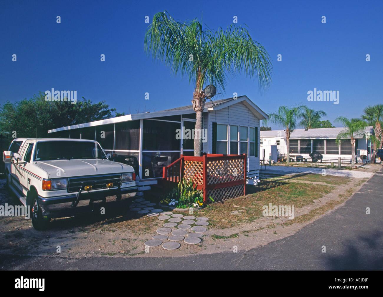 Mobile Home In A Trailer RV Park Florida USA Stock Photo
