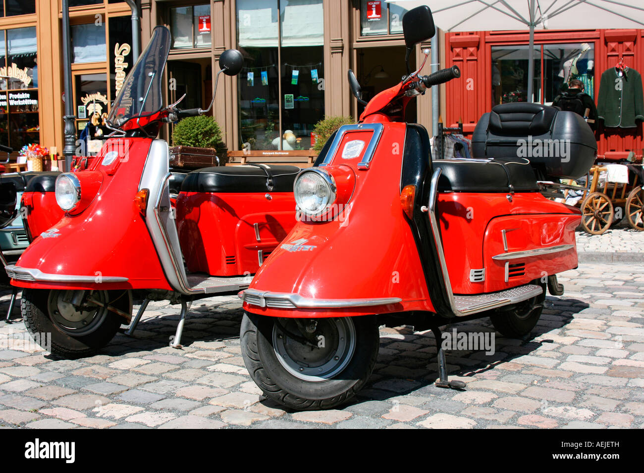 Two Red Vintage Cars Scooter Type Heinkel Tourist Stock Photo