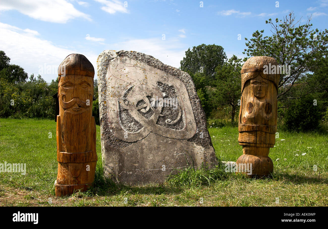 Wooden sculptures and viking picture stone in