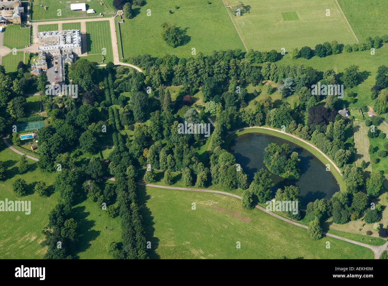 Aerial view of althorp house and the oval lake for See images of my house