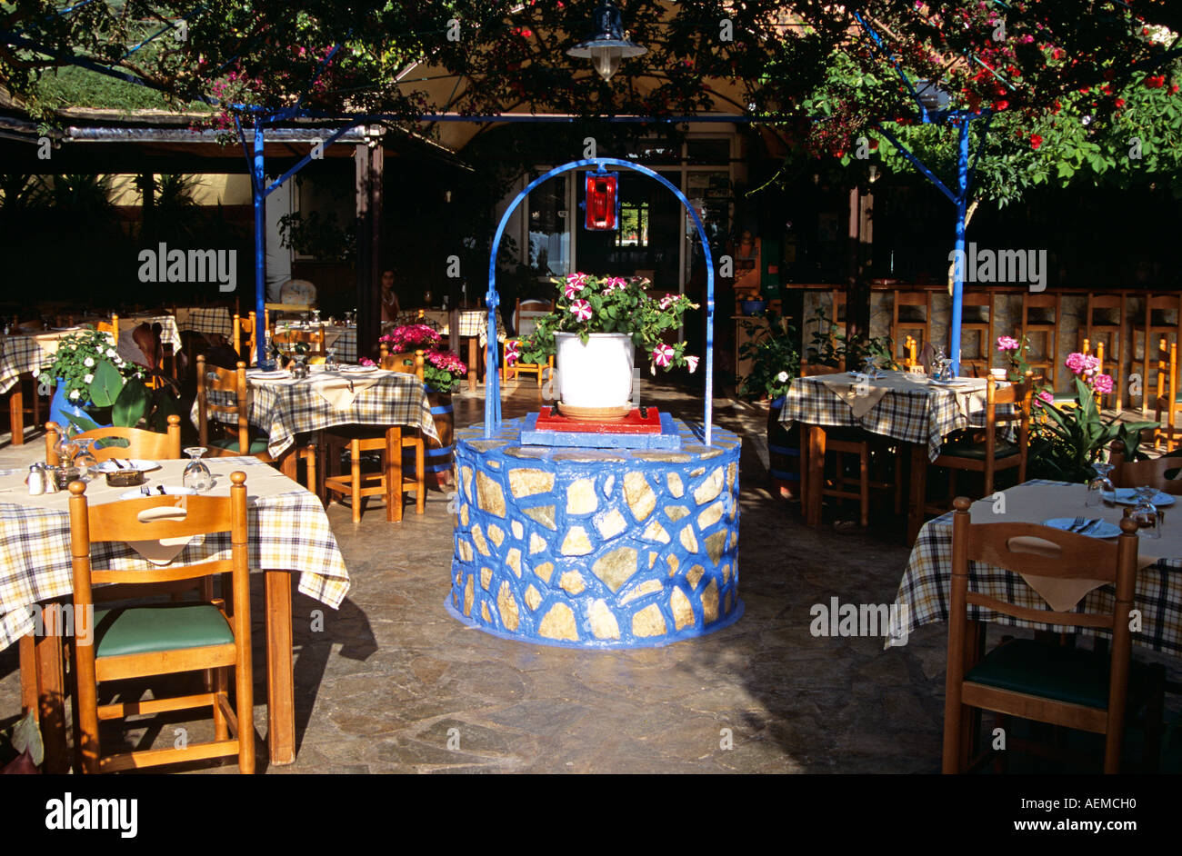 Water well and tables chairs in restaurant lassi