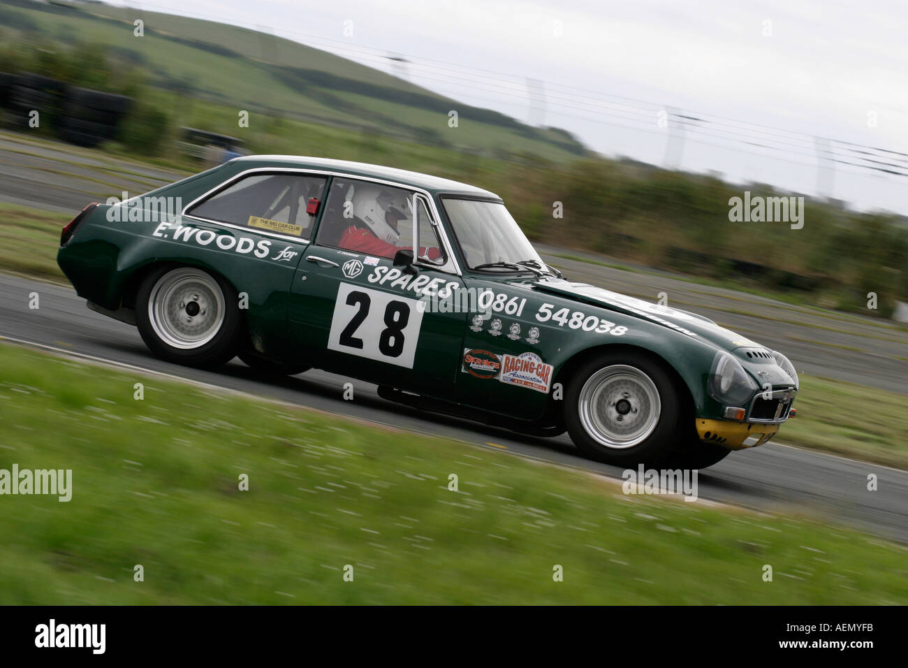 Pamela Cochrane in her british racing green 3 5 MGB GT V8 at Stock ...