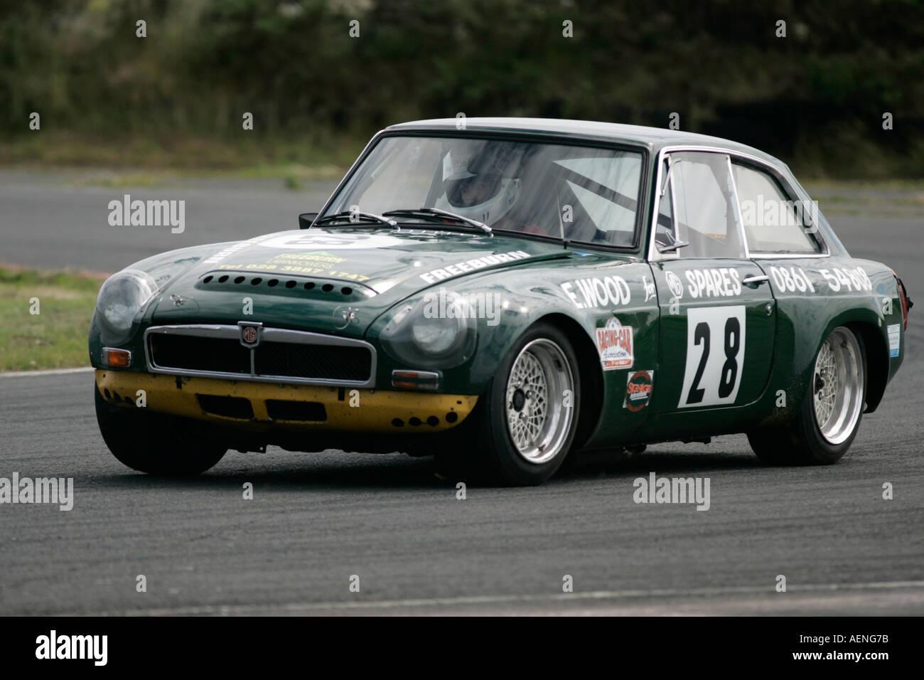 Pamela Cochrane in her british racing green 3 5 MGB GT V8 at Stock ...