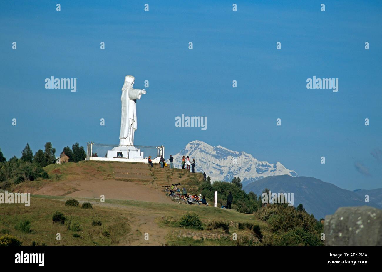 Mountain living near cusco peru royalty free stock photo - Statue Of Jesus Christ Ausangate Mountain Photo Taken From Sacsayhuaman Inca Ruins Near Cusco Peru