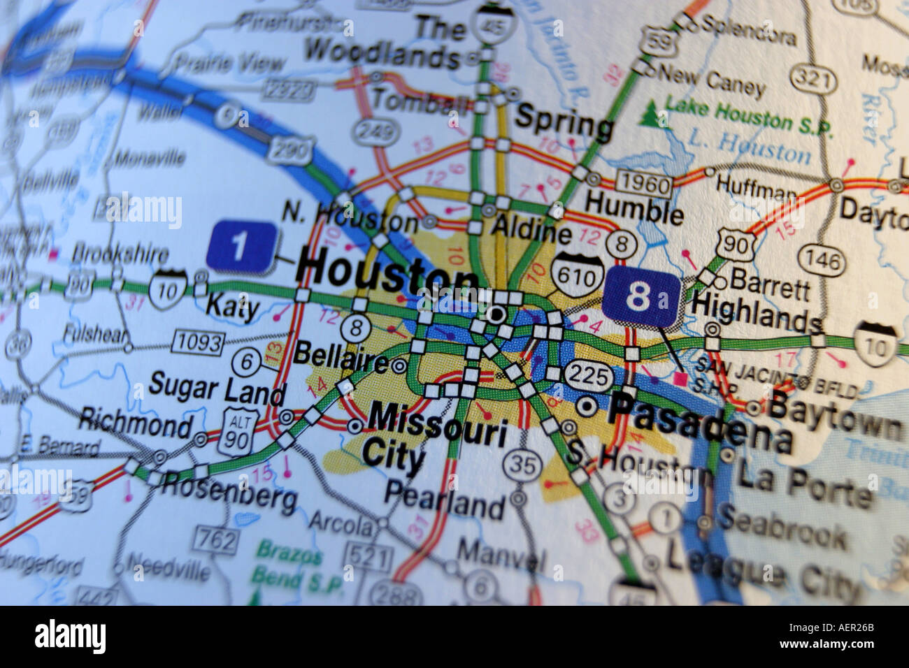 Close Up Map Of Houston Texas USA Stock Photo Royalty Free Image - Us map close up