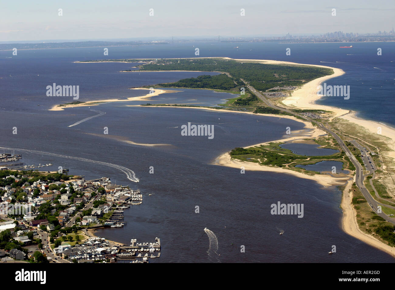 Aerial view of atlantic highlands and sandy hook new for Atlantic highlands fishing