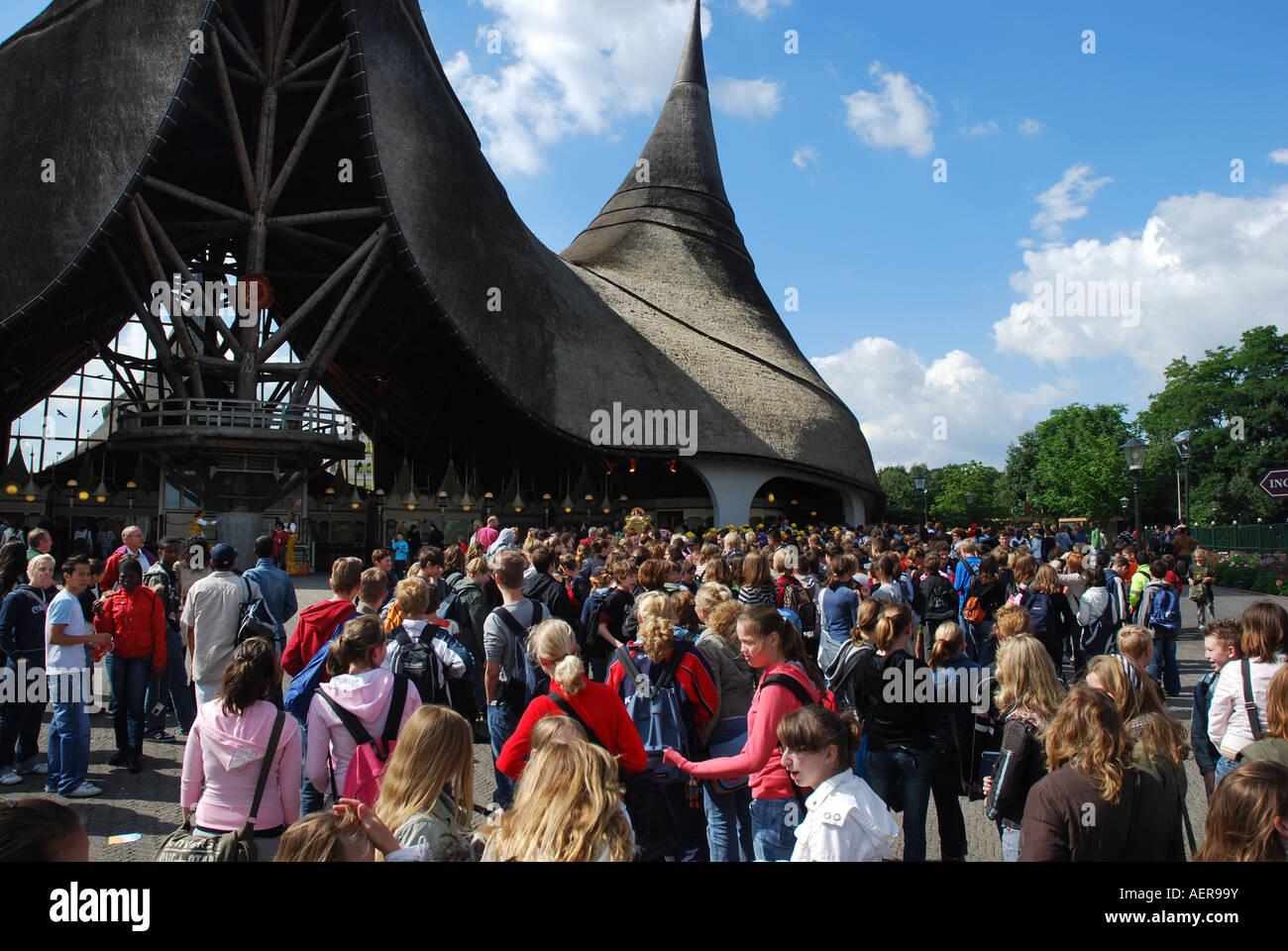 Visitors waiting at entrance to efteling theme park for Amusement park netherlands