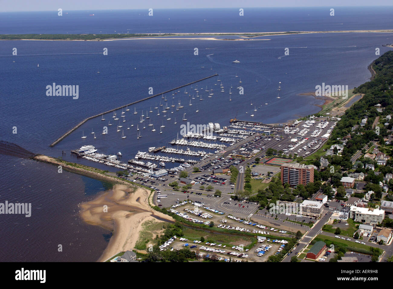 Aerial view of atlantic highlands new jersey u s a stock for Atlantic highlands nj fishing