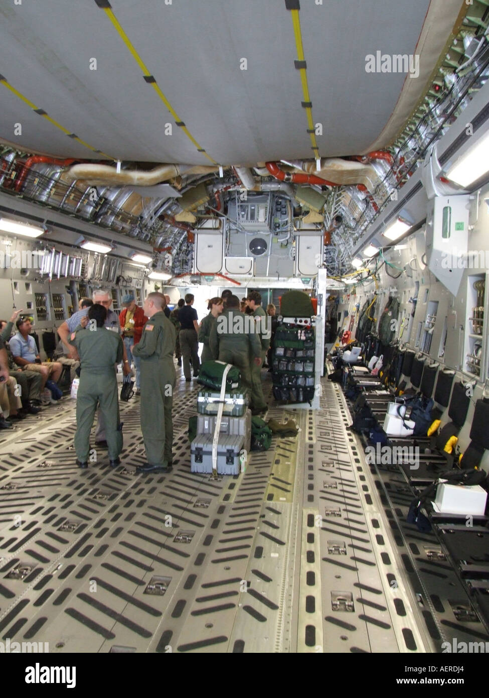 Interior of C130 Military Aircraft on tarmac at McGuire ...