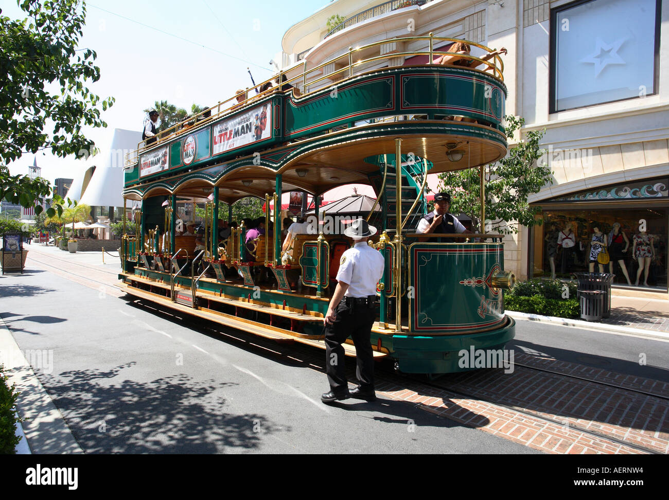 The trolley bus at The Grove shopping area near the Farmers Market