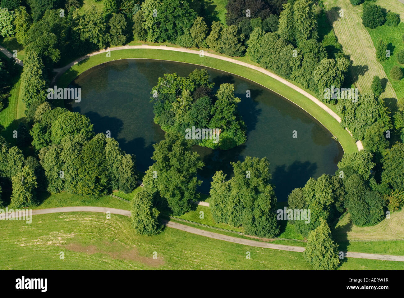 Princess Diana Gravesite Aerial View Of The Oval Lake And Island Where Princess