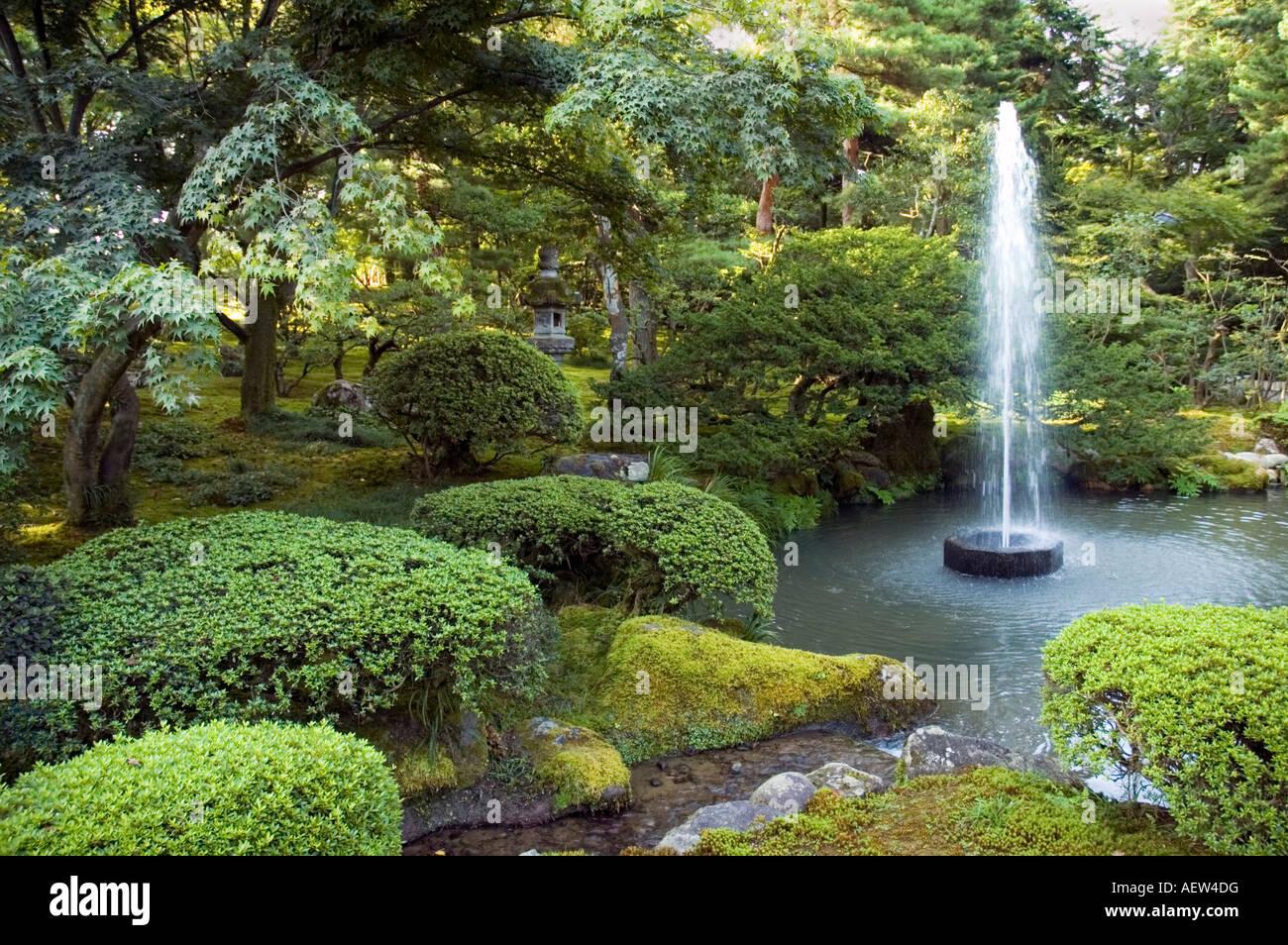 Japans first fountain. Kenrokuen Garden Kanazawa, Ishikawa, Japan Stock ...