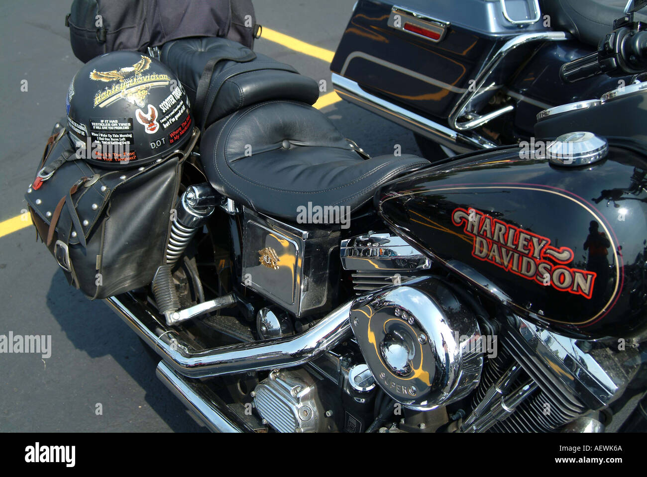 parked harley davidson motor cycle with strapped heavily sticker