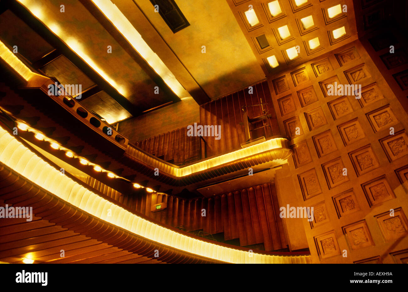 interior of the original savoy theatre london, art deco inspired