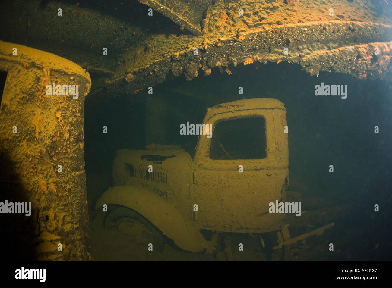 Truck in cargo hold of sunken ship hoki maru truk lagoon chuuk federated states of micronesia