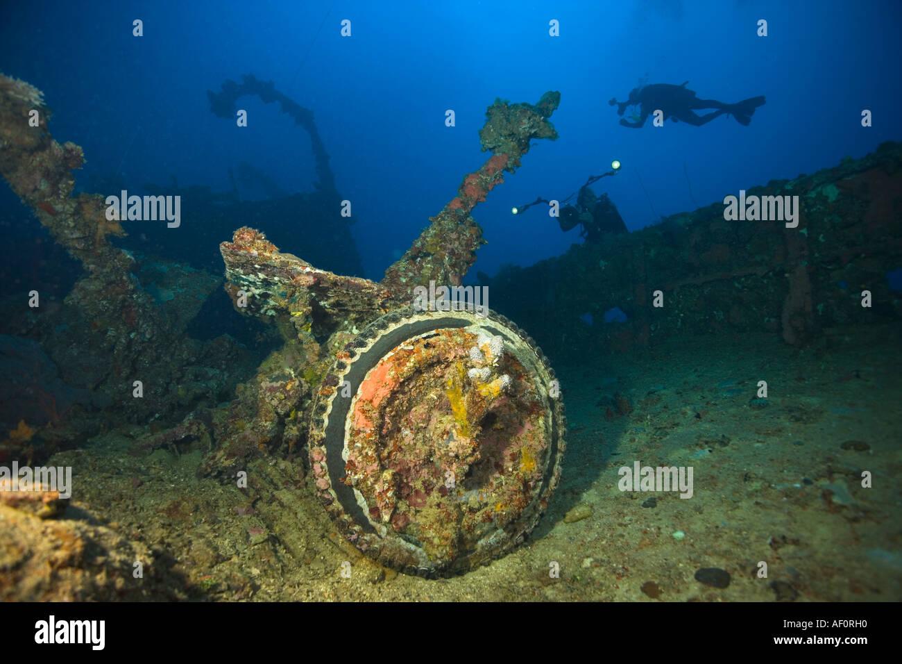 Artillery piece on deck of sunken ship nippo maru truk lagoon chuuk federated states of micronesia