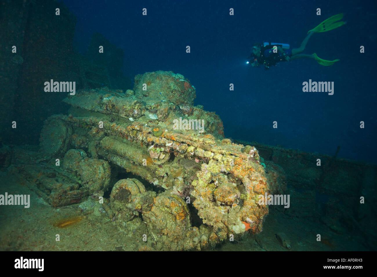 Tank on main deck of sunken ship nippo maru truk lagoon chuuk federated states of micronesia