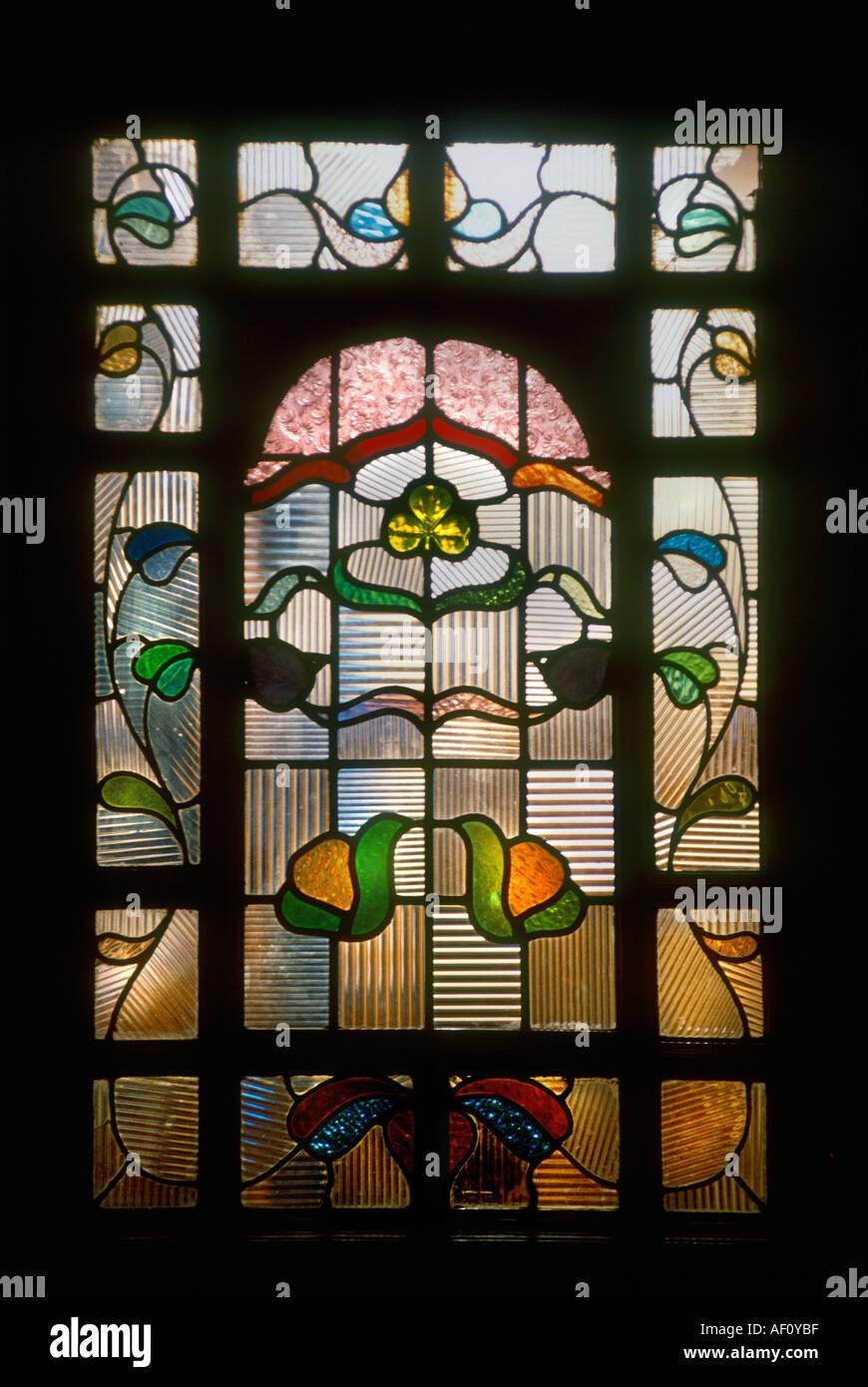 Close up front door panel of decorative stained glass in the art close up front door panel of decorative stained glass in the art nouveau style british housing london rubansaba