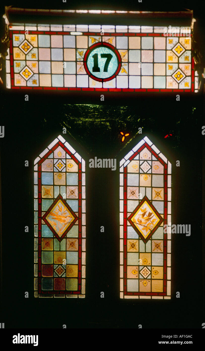 Victorian Stained Glass Gothic Style front door at night British ...