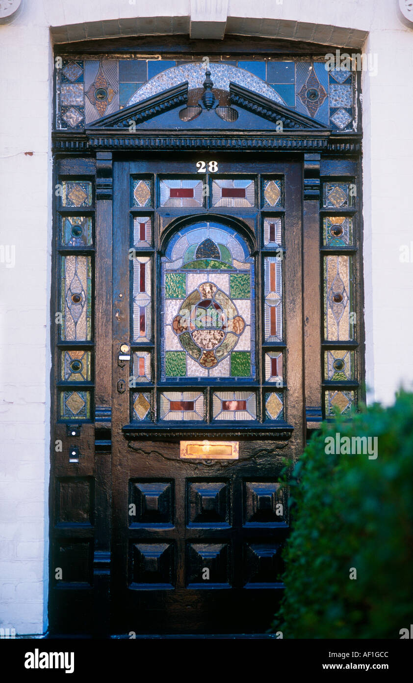 Exterior Of Stained Glass Black Front Door British Housing London Stock Photo 4504779 Alamy