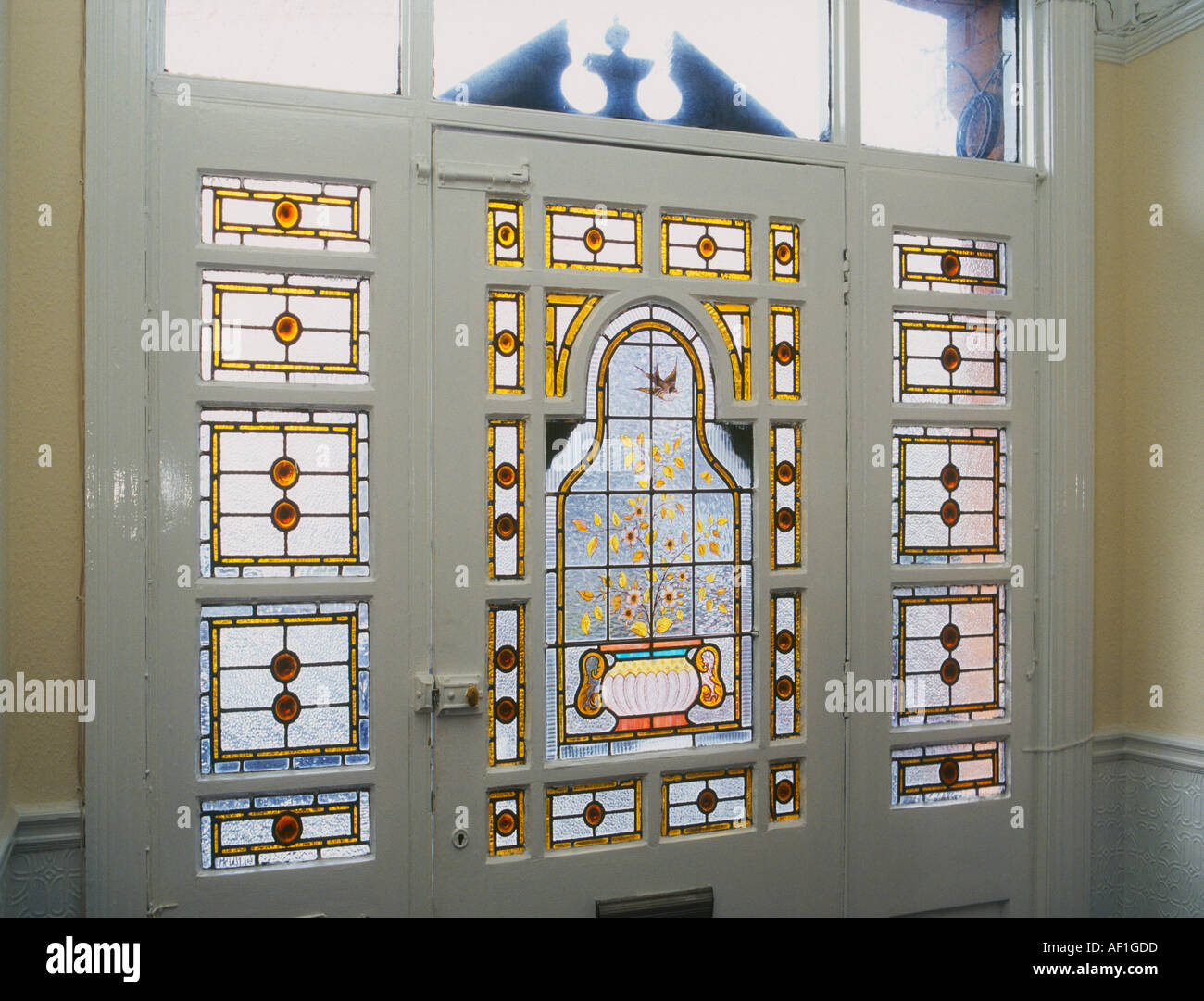 Decorative Edwardian Stained Glass front door taken from interior ...