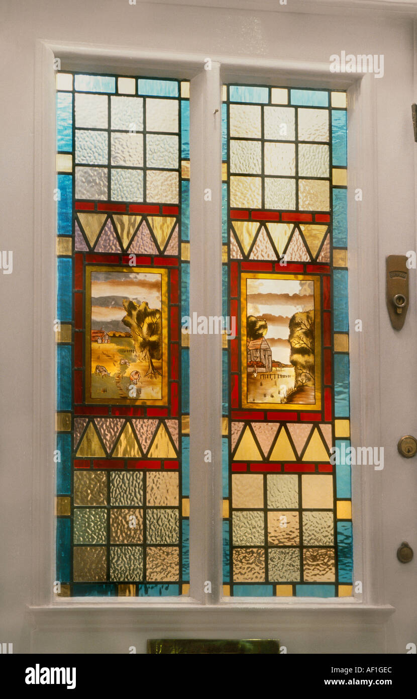 Hallway Interior Of Victorian House With Stained Glass Front Door Stock Photo Royalty Free