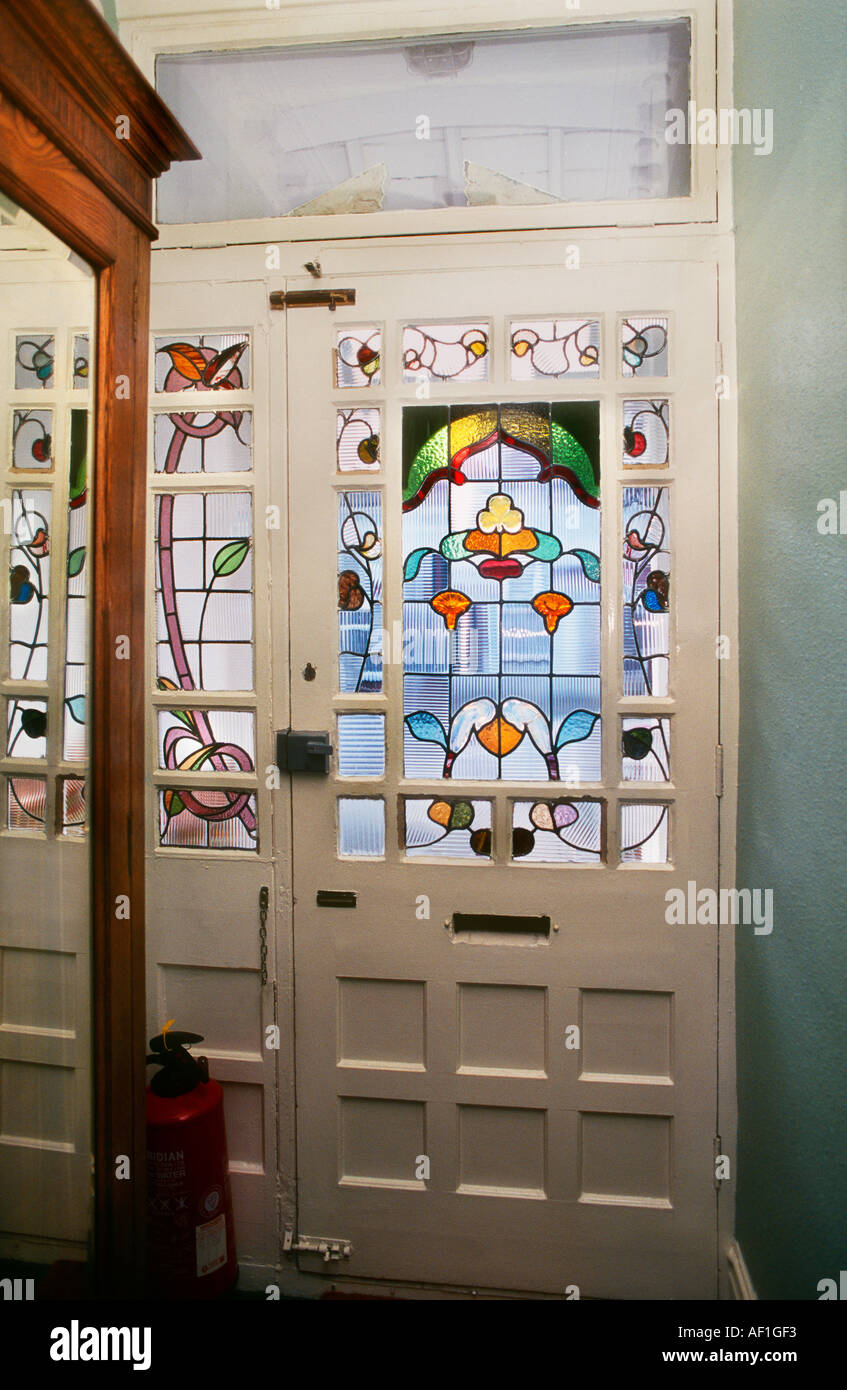 Stained glass door art nouveau style house in west london stock stained glass door art nouveau style house in west london eventelaan Image collections