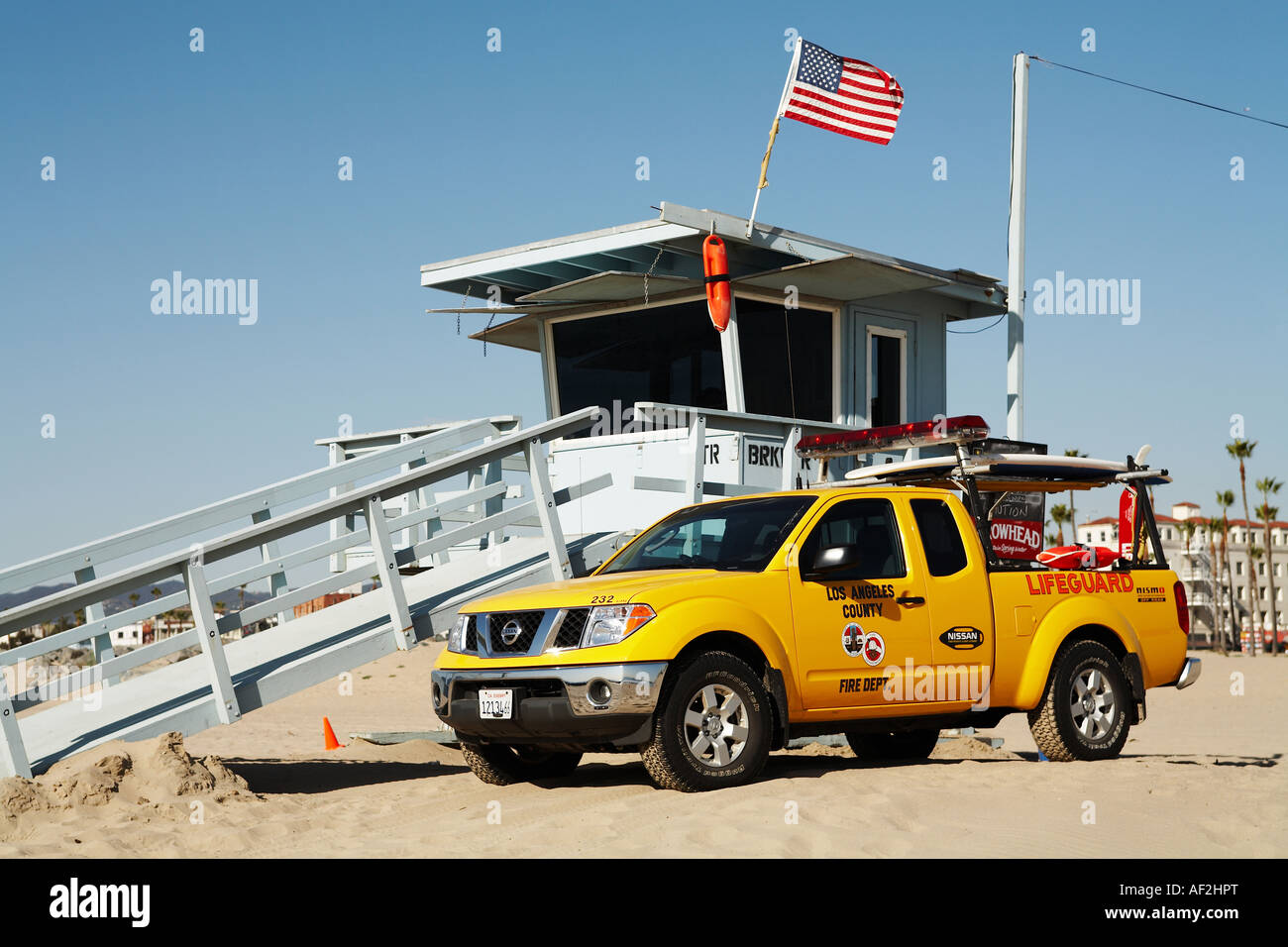 Lifeguard truck with tower venice beach los angeles county california usa