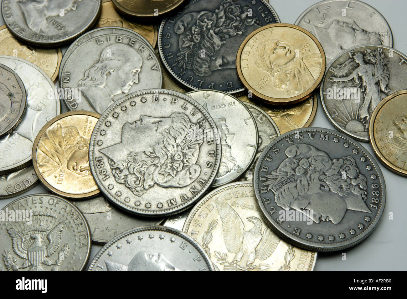 US Dollar and Half Dollar coins new and old silver and ...