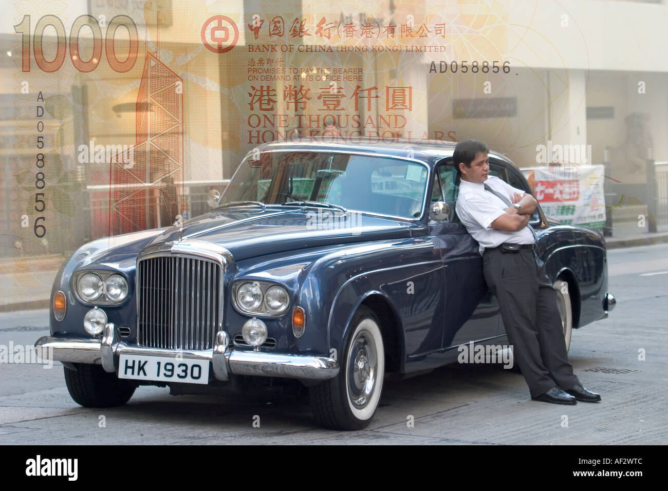 Old Antique Bentley With Chauffeur Standing Against Driver Car - Bentley chauffeur