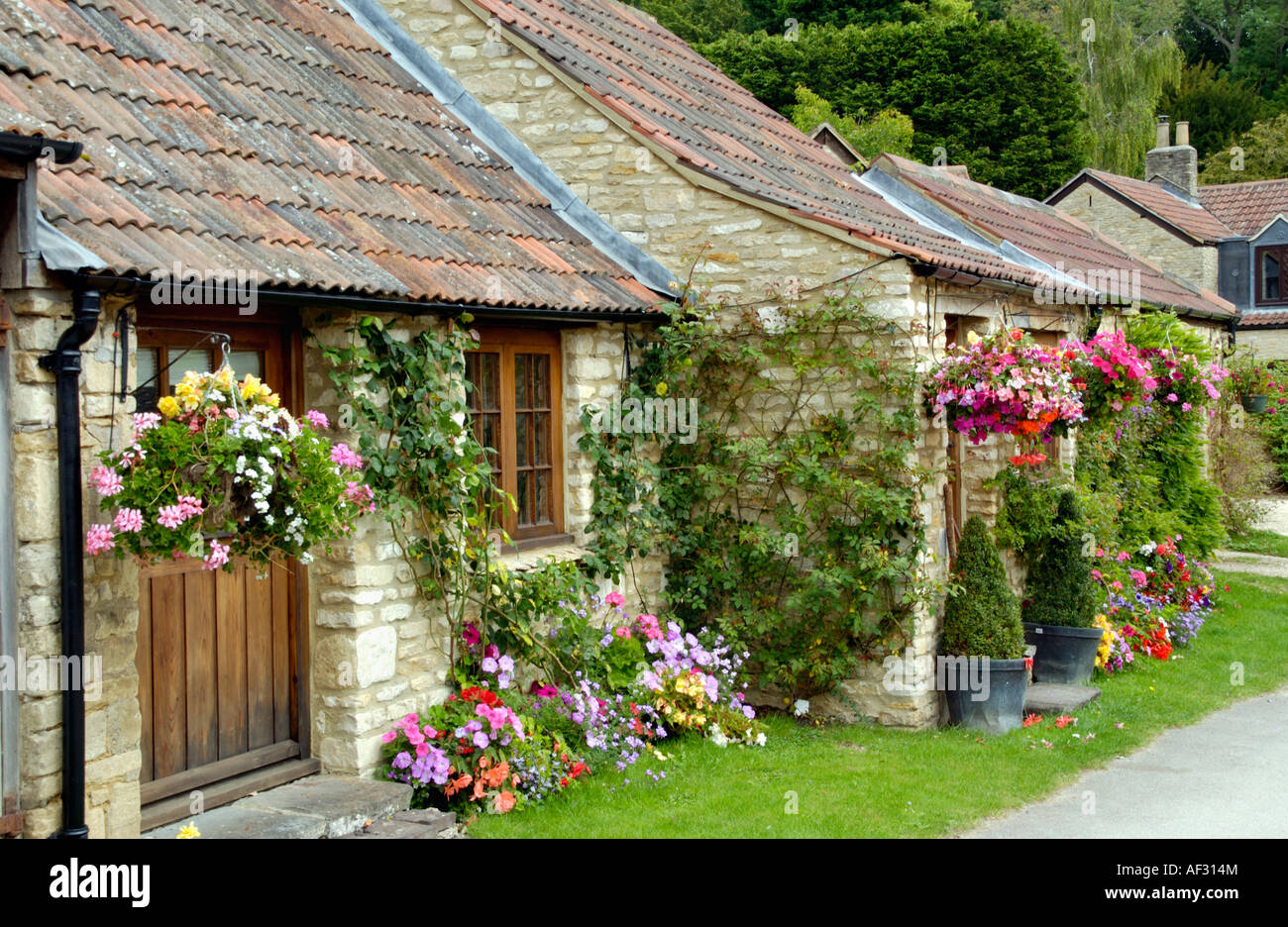 small cotswold cottages in castle combe wiltshire england