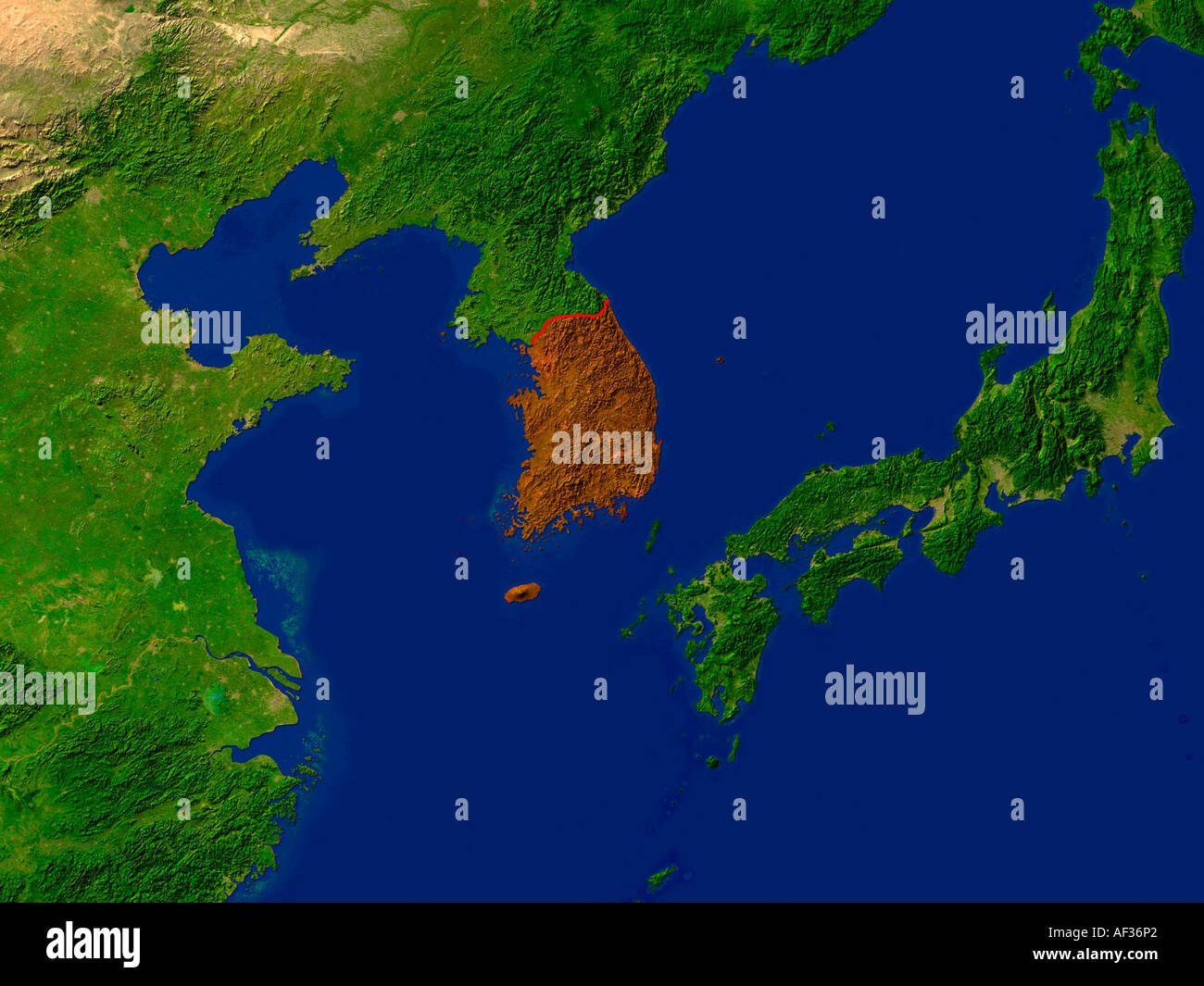 Satellite image of south korea highlighted red stock photo satellite image of south korea highlighted red gumiabroncs Images